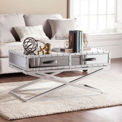 Southern Enterprises Lazio Industrial Mirrored Cocktail Table in Silver & Buy Mirrored Coffee Table Furniture from Bed Bath u0026 Beyond