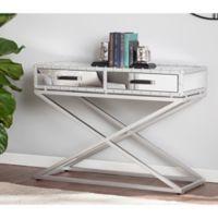 Southern Enterprises Lazio Industrial Mirrored Console Table in Silver