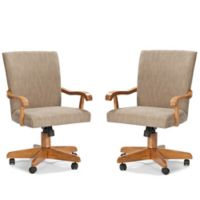 Intercon Furniture Classic Office Caster Arm Chairs in Chestnut (Set of 2)
