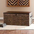 Southern Enterprises Water Hyacinth Storage Trunk in Blackwashed Espresso