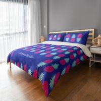 Designs Direct Geo Prep Collection Preppy Pineapple Full/Queen Duvet Cover in Purple