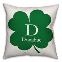 Designs Direct St. Patrick's Day Collection Family Clover Square Throw Pillow in Green