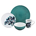 Baum Bloom Jade 16-Piece Dinnerware Set in White