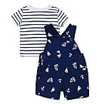 Little Me® Size 9M 2-Piece Sailboat Shortall and Striped T-Shirt Set in Navy/White