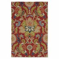 Kaleen Home & Porch Damask Floral 9-Foot x 12-Foot Indoor/Outdoor Area Rug in Red