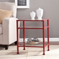 Southern Enterprises Metal/Glass Bunching End Table in Red