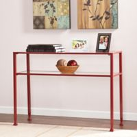Southern Enterprises Metal/Glass Bunching Console Table in Red