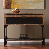 Southern Enterprises Drifton Trunk Console Table in Antique Black