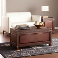 Southern Enterprises Amherst Trunk Cocktail Table in Dark Cherry