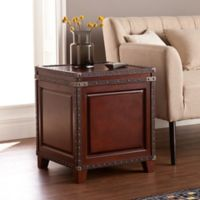 Southern Enterprises Amherst Trunk End Table in Dark Cherry