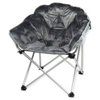 Folding Faux Fur Club Chair in Grey