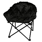 Folding Faux Fur Club Chair in Black