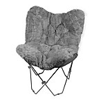 Faux Fur Butterfly Chair in Grey