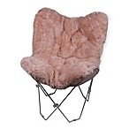 Faux Fur Butterfly Chair in Blush