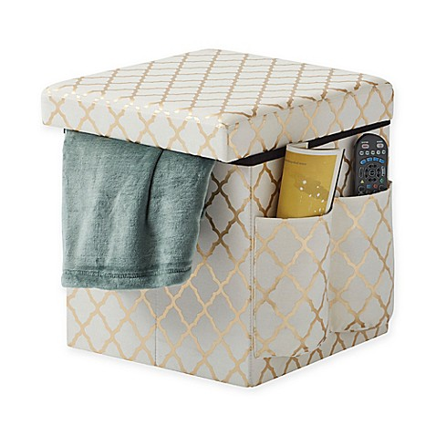 Sit Amp Store Folding Storage Ottoman In Gold Bed Bath