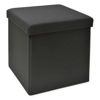 studio 3b folding storage ottoman with tray in black - Black Storage Ottoman