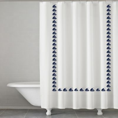Etonnant Grand Haven Embroidered Shower Curtain In Navy