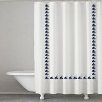 Grand Haven Embroidered Shower Curtain in Navy