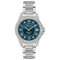 Bulova Women's 32mm Marine Star Diamond Watch in Stainless Steel with Blue Dial