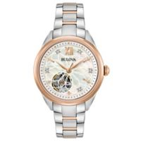 Bulova Women's 34mm Automatic Diamond Watch in Two-Tone Stainless Steel with Open Aperture Dial