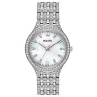 Bulova Crystals Ladies' 32mm Swarovski®-Accented Mother-of-Pearl Dial Watch in Stainless Steel