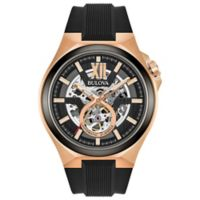 Bulova Automatic Men's 46mm Watch in Rose Goldtone Stainless Steel with Black Silicone Strap