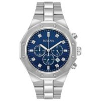 Bulova Diamonds Men's 44mm Chronograph Bracelet Watch in Stainless Steel