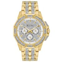 Bulova Men's 41.7mm Swarovski® Crystal Watch in Goldtone Stainless Steel with Pave Dial