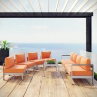 Modway Shore 7-Piece Outdoor Cushioned Patio Seating Set in Silver/Orange