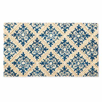 evergreen embossed tile coir doormat in blue