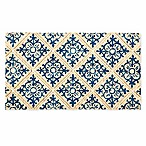 Evergreen Embossed Tile Coir Doormat in Blue