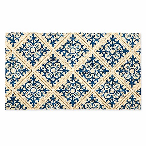 image of Evergreen Embossed Tile Coir Doormat in Blue