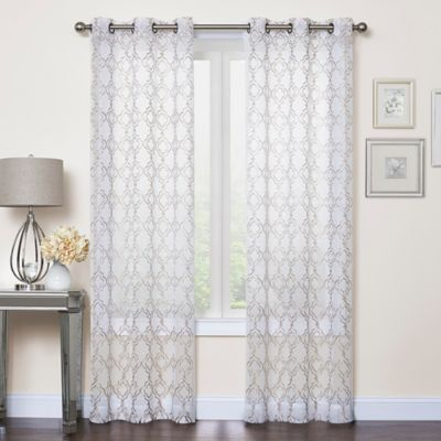 Callahan Embroidered 108 Inch Grommet Top Sheer Window Curtain Panel Pair  In Ivory