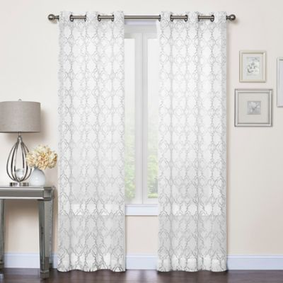 callahan embroidered 63inch grommet top sheer window curtain panel pair in white - Window Sheers