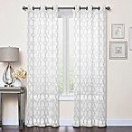 Callahan Embroidered 84-Inch Grommet Top Sheer Window Curtain Panel Pair in White