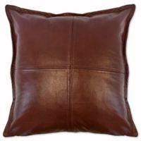 Austin Horn Classics Dakota Faux Leather Square Throw Pillow in Brown