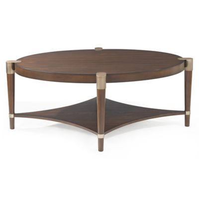 Bassett Mirror Company Thoroughly Modern Cole Oval Cocktail Table In Walnut