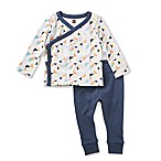 Tea Collection Newborn 2-Piece Archer Pant and Kimono Shirt Set in Grey