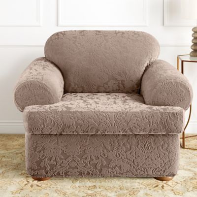 Sure Fit® Stretch Jacquard Damask 2 Piece T Cushion Chair Slipcover In  Mushroom
