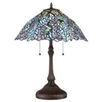 Quoizel Blue Trellis 2-Light Small Table Lamp in Brown