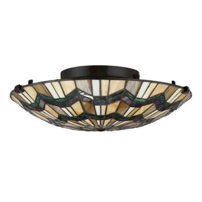 Buy tiffany ceiling lights from bed bath beyond quoizel alcott 2 light large floating flush mount ceiling light in brown aloadofball Gallery