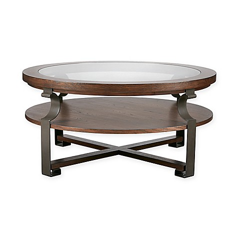 Madison Park Forge Round Coffee Table In Natural Bed