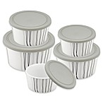 Imperial 5-Piece Round Food Storage Container Set in White/Grey