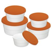 Imperial 5-Piece Round Food Storage Container Set in White/Orange