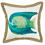 Angel Fish Square Outdoor Throw Pillow in Blue