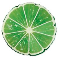 Lime Shape Round Outdoor Throw Pillow in Lime