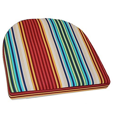 Outdoor striped wicker chair cushion bed bath beyond for Bed bath beyond gel seat cushion