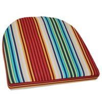 Outdoor Striped Wicker Chair Cushion