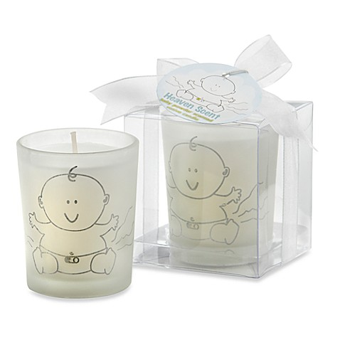 glass votive baby powder candle baby shower favor bed bath beyond