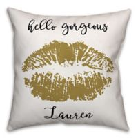 """Hello Gorgeous"" Gold Lips Square Throw Pillow in Black/Gold"
